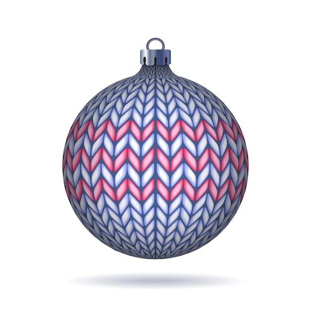 Bola de navidad tejida azul claro aislado sobre fondo blanco. Vector Premium