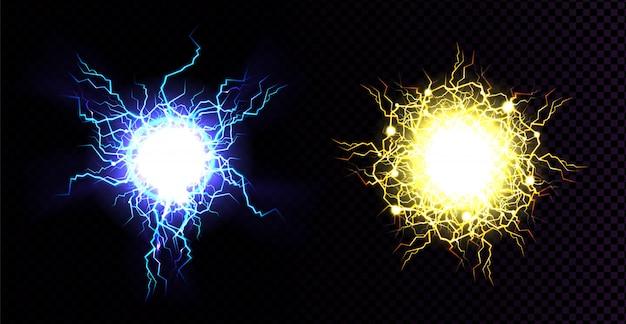 Bola de relámpago, impacto de golpe eléctrico. vector gratuito