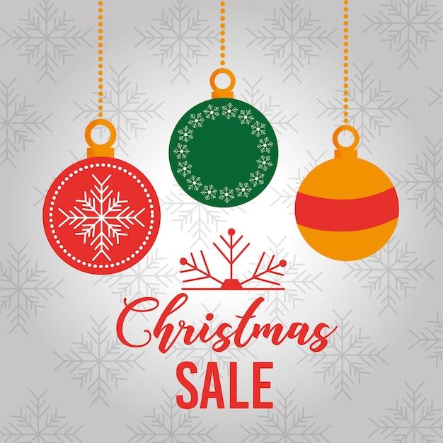 4633f2597c1 Bolas de decoración de tarjeta de venta de navidad colgando ...