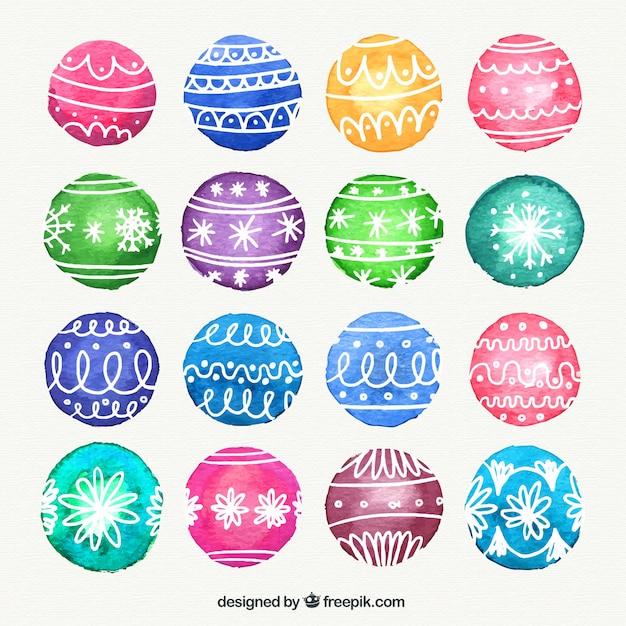 bolas de navidad de colores de acuarela vector gratis