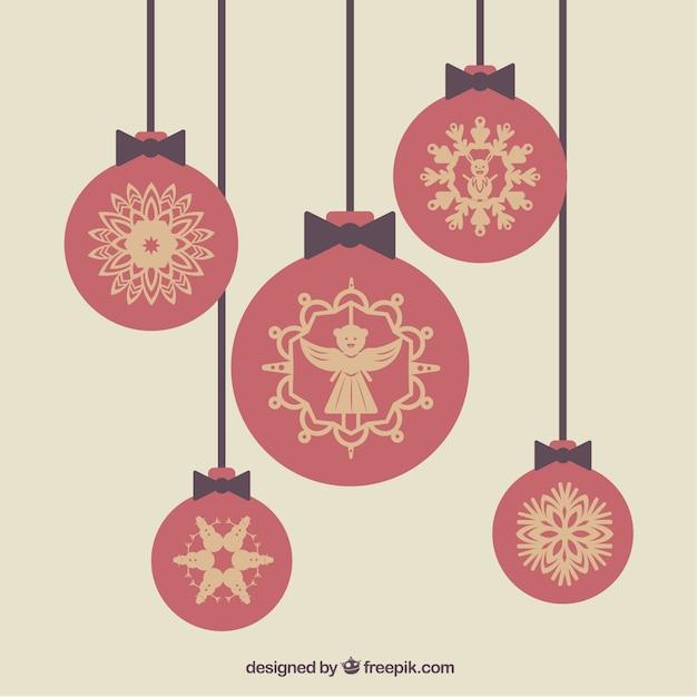Bolas de navidad ornamentales rojas descargar vectores - Bolas de navidad rojas ...