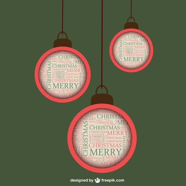 bolas de navidad planas de estilo vintage vector gratis