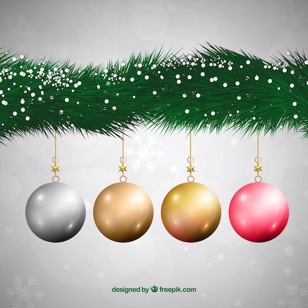 bolas de navidad realistas colgando