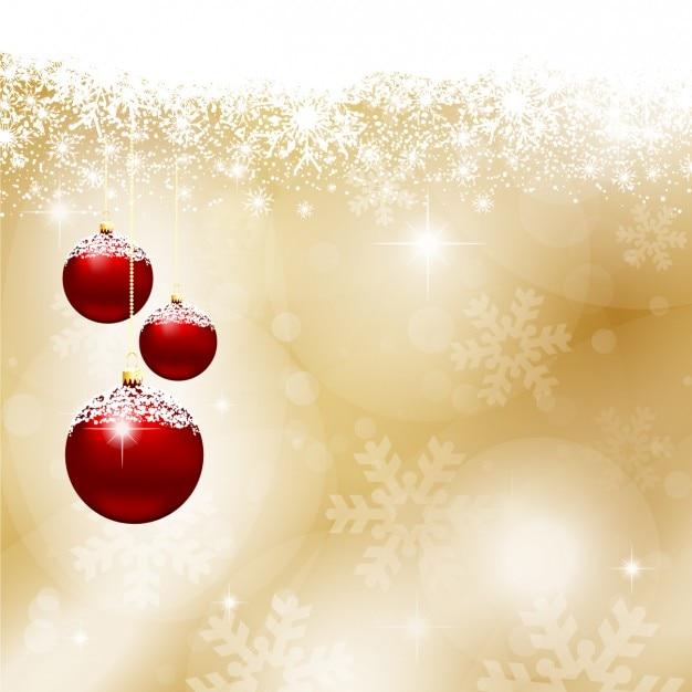 Bolas de navidad rojas sobre fondo dorado descargar - Bolas de navidad rojas ...
