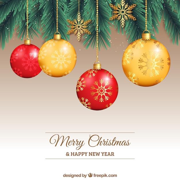 Bolas de navidad rojas y amarillas descargar vectores - Bolas de navidad rojas ...