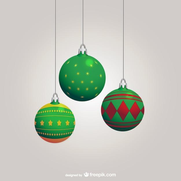 bolas de navidad verdes vector gratis