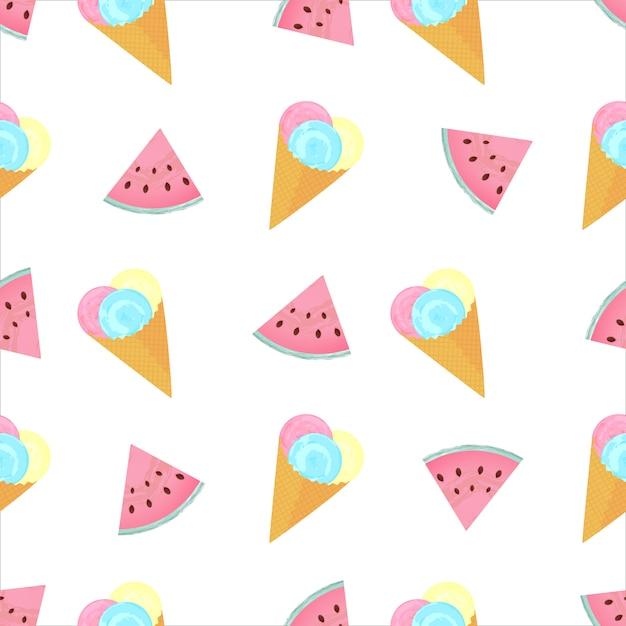 Bolas de helado en un cono de waffle y rodajas de sandía verano de patrones sin fisuras. Vector Premium