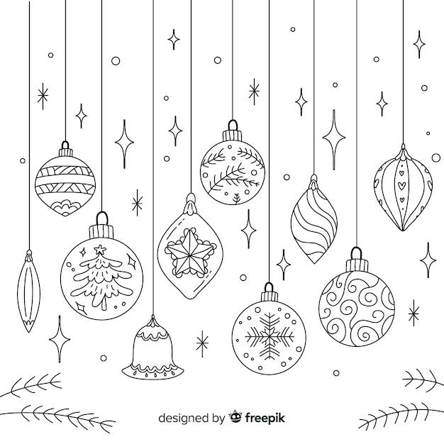 Bolas de navidad dibujadas a mano vector gratuito