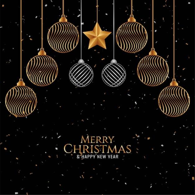 Bolas de navidad doradas para fondo feliz navidad vector gratuito