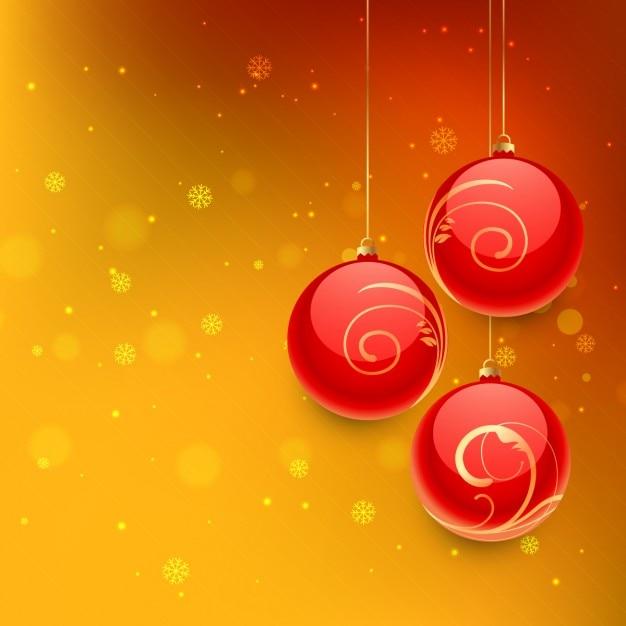 Bolas de navidad en fondo naranja vector gratuito