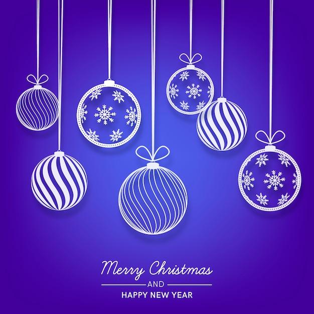 Bolas de navidad en papel vector gratuito