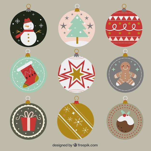 Bolas planas con geniales objetos navide os descargar vectores gratis - Objetos de navidad ...