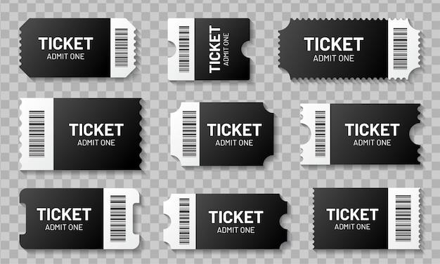 Boleto en blanco con conjunto de código de barras. plantilla para boletos de concierto, cine, teatro y embarque, lotería y cupones de descuento con bordes rizados Vector Premium