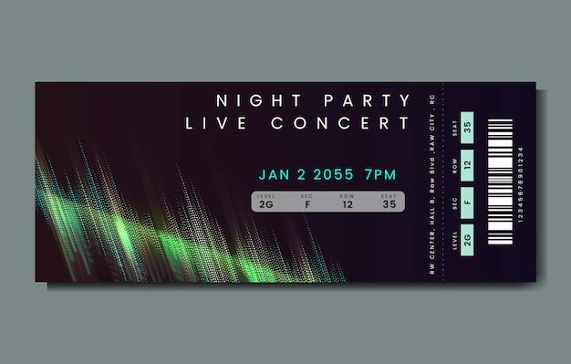 Boleto de concierto en vivo vector gratuito