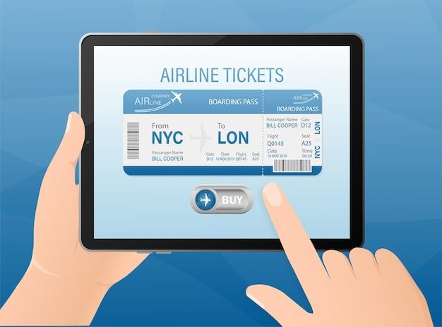 Boletos de avión en línea con las manos y la tableta. ilustración. Vector Premium