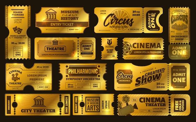 Boletos de oro boleto de espectáculo de circo de oro, cupón de noche de cine de cine premium y boletos de teatro establecidos. cupones brillantes invitaciones brillantes. boletos limitados. pase vip, museo, orquesta Vector Premium
