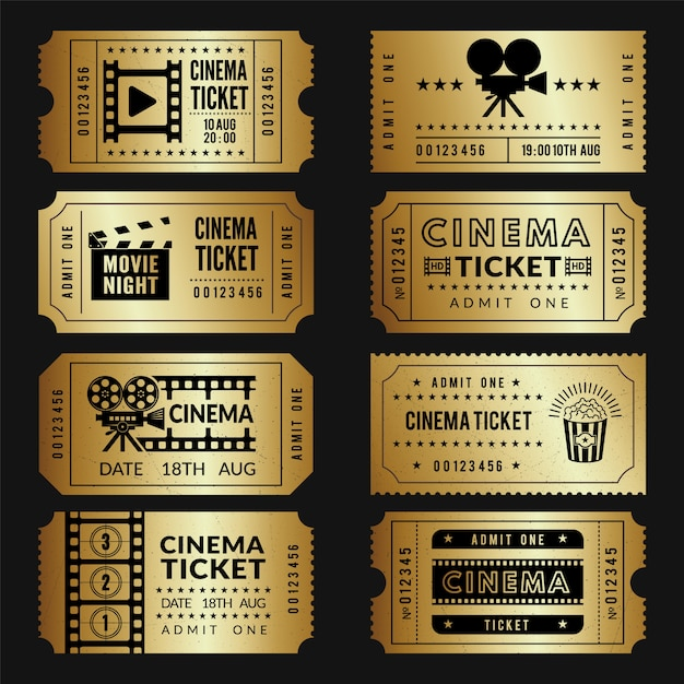 Boletos de oro plantillas de entradas de cine de entrada con ilustraciones de cámaras de video y otras herramientas Vector Premium