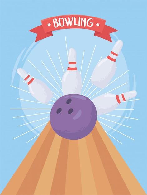 Bolos estrellarse bola pin juego deporte recreativo diseño plano ilustración vectorial Vector Premium