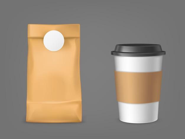 Bolsa de café y vaso desechable vector gratuito