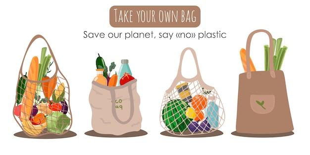 Bolsa de compras textil reutilizable con verduras y frutas para una vida ecológica. concepto de desperdicio cero. dibujado a mano colorido. di no al plástico Vector Premium