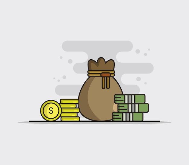 Bolsa de dinero ilustrada vector gratuito