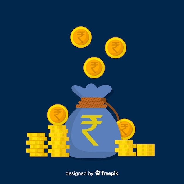 Bolsa de dinero de rupias indias vector gratuito
