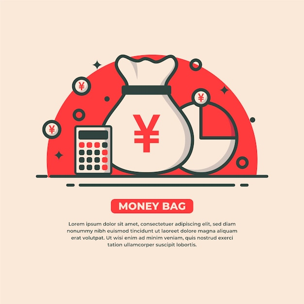 Bolsa de dinero con símbolo de yen vector gratuito