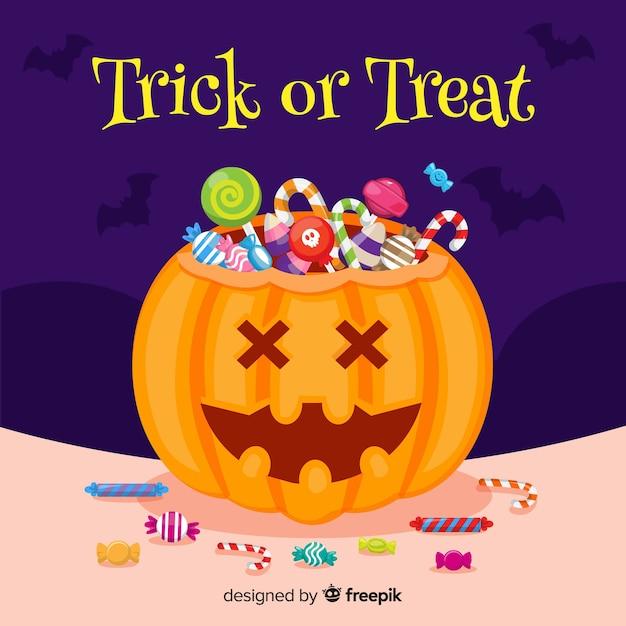 Bolsa de dulces de halloween de diseño plano vector gratuito