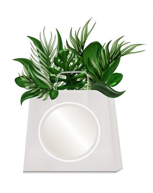 Bolsa ecológica para comprar hojas tropicales aisladas en el blanco. Vector Premium
