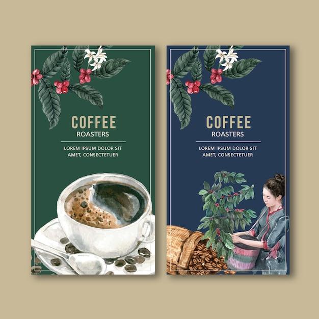 Bolsa de empaque de café con rama deja frijol, máquina fabricante, ilustración acuarela vector gratuito