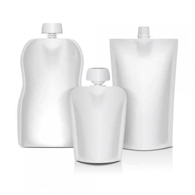 Bolsa flexible vacía con tapa para empacar alimentos o bebidas, puré para bebés, yogurt, ketchup, mayonesa Vector Premium