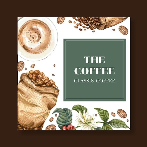 Bolsa de granos de café arábica con taza de café americano y cafetera, ilustración acuarela vector gratuito