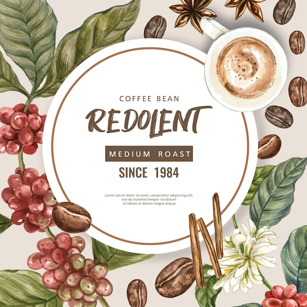 Bolsa de granos de café arábica con taza de café americano, canela cafetera ilustración acuarela vector gratuito