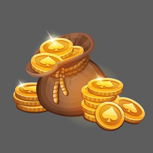 Bolsa de monedas de oro Vector Premium