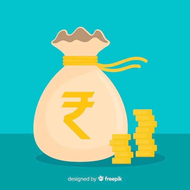 Bolsa de rupias indias vector gratuito