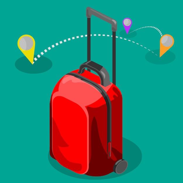Bolsa de viaje isométrica Vector Premium