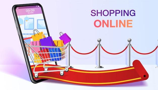 Bolsas de compras en un carrito móvil o teléfono inteligente. plantilla de sitio web en línea de compras. concepto de aplicación de tienda móvil. marketing y marketing digital. . Vector Premium
