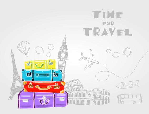 Bolsas de viaje vintage con diferentes elementos de viaje. Vector Premium