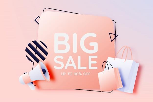 Bolso de compras y megáfono en venta banner Vector Premium