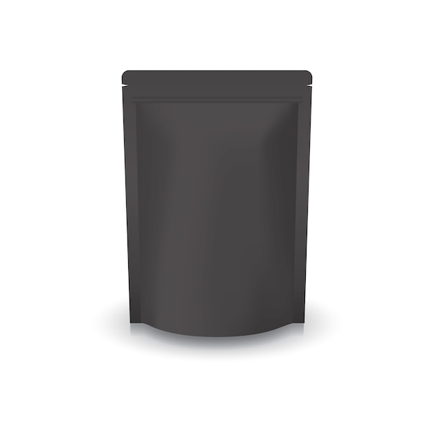 Bolso ziplock de pie negro en blanco. Vector Premium