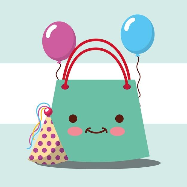 Bolsos kawaii de regalo y globos de fiesta con sombrero  05f2d0dcf45