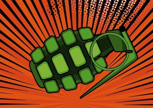 Bomba de arte pop en la ilustración de fondo de estilo retro del arte pop cómico Vector Premium