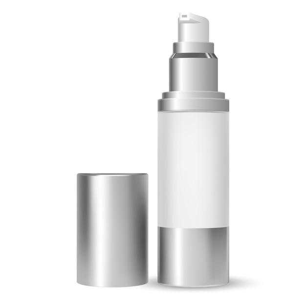 Bomba de botella. envase cosmético de la belleza. vector 3d Vector Premium