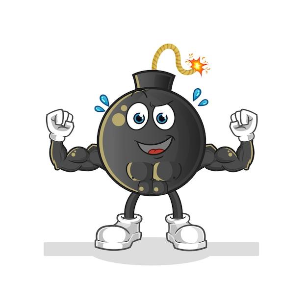 Bomba de dibujos animados muscular. mascota de dibujos animados Vector Premium