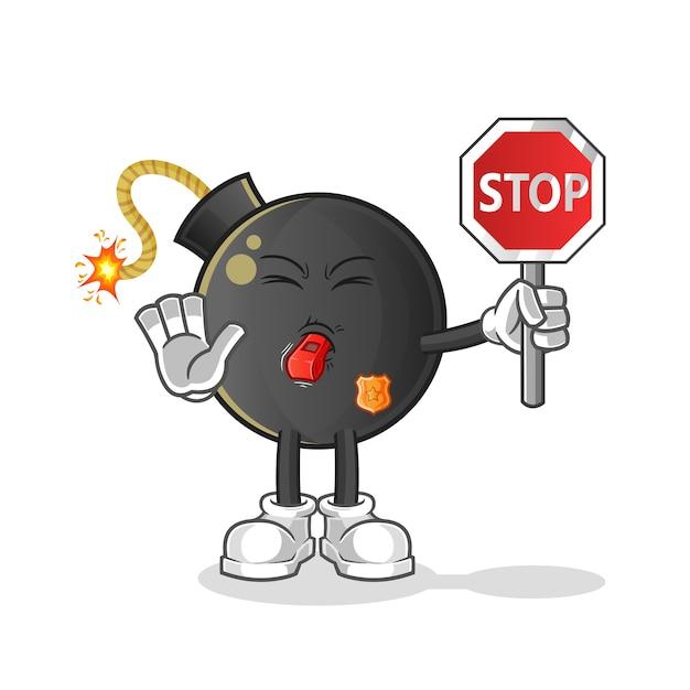 Bomba con dibujos animados de señal de stop. mascota de dibujos animados Vector Premium