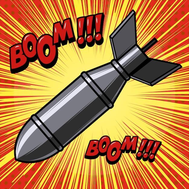 Bomba de dibujos animados sobre fondo con líneas de velocidad. elemento para cartel, impresión, tarjeta, banner, flyer. imagen Vector Premium