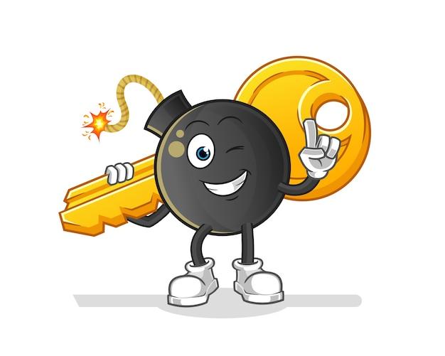 Bomba lleva la mascota clave. dibujos animados Vector Premium