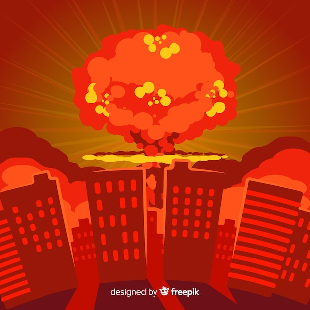 Bomba nuclear plana en una ciudad vector gratuito