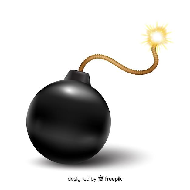 Bomba redonda negra estilo realista vector gratuito