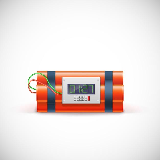 Bomba con reloj digital. Vector Premium